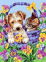 Картина по номерам 30×40 см. Корзина дружбы собака и кошка, фото 1