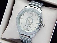 Женские кварцевые наручные часы  Пандора (Pandora) серебро, с метками камушками - код 1542, фото 1