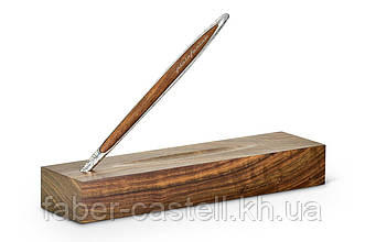 Ручка шариковая Pininfarina Cambiano Ink Silver Luxury Edition, корпус серебряный, древесина грецкий орех