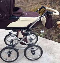 Универсальная коляска 2 в 1 Tako Carmela 02 коричневй/беж на спицах, кожа