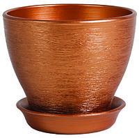 Горшок керамический цвет бронза (диаметр 16 см.)