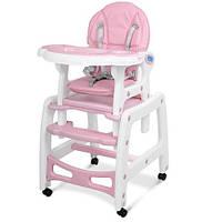 Стульчик M 1563-8-1 (1шт) для кормления, 2в1 (столик со стульчиком), качалка, колеса 4шт, розовый