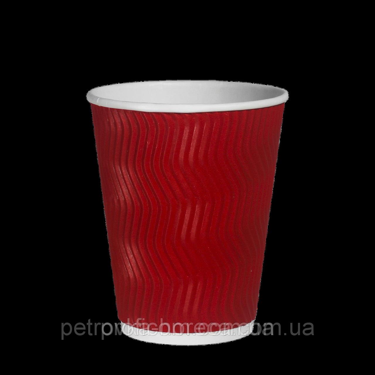 Стакани гофровані 250мл 25шт  рожеві/червоні  (ripple)