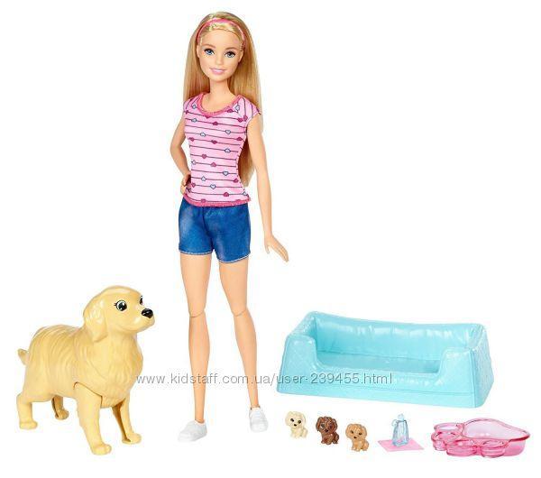 Кукла Барби с собакой и щенками Barbie Newborn Pups Doll & Pets Оригинал