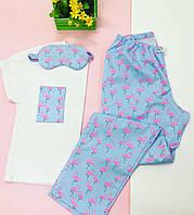 Хлопковая Пижама в фламинго.Одежда для сна и дома. Жіноча піжама. Комплект жіночий. Хлопковий комплект