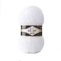 Пряжа букле Alize Naturale Boucle 55 белый (нитки для вязания Ализе Натурель Букле)