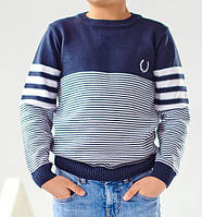 Свитер классический в тоненькую белую полоску. Вязаный свитерок для мальчика. Вязаный джемпер для мальчика