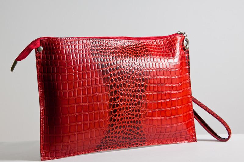 Клатч женский кожаный 01 красный кайман 03010207