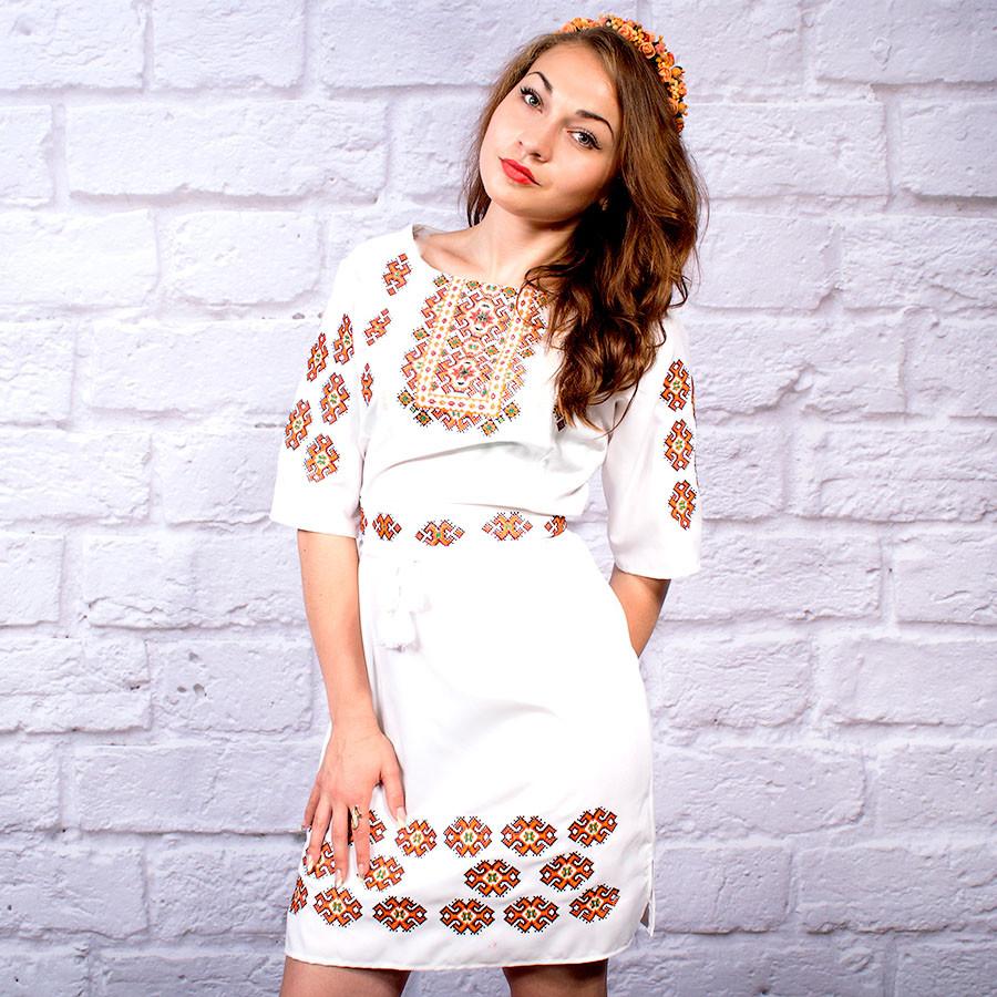 """Женское  платье с вышивкой """"Янтарь"""""""