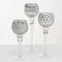 Набор подсвечников бокалов из стекла h30-40 см серебро