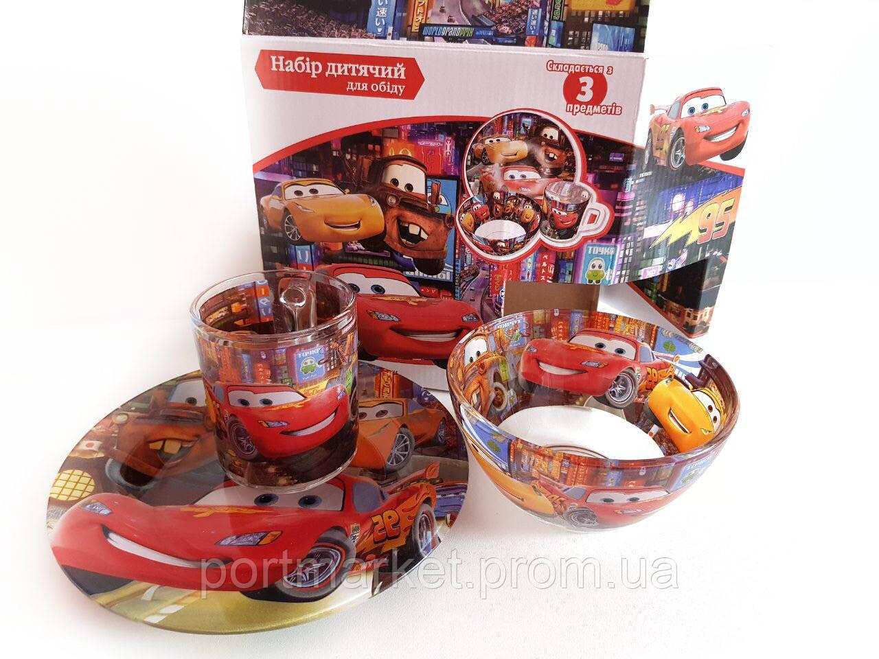 Набор детской стеклянной посуды (Тачки)