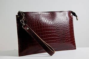 Клатч женский кожаный 01 коричневый кайман 03010206
