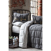Набор постельное белье с одеялом Karaca Home - New York gri 2019-2 серый полуторный