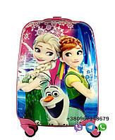 """Детский пластиковый чемодан на колесах  """"Холодное сердце"""" ручная кладь, дитячі чемодани, дитячі валізи, фото 1"""