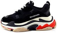 Женские кроссовки Balenciaga Triple S Black Red (баленсиага трипл с, черные/красные) ТОЛЬКО 37 РАЗМЕР!!!