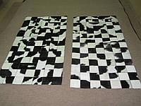 Комплект прикроватных ковриков из шкуры коровы черно белой