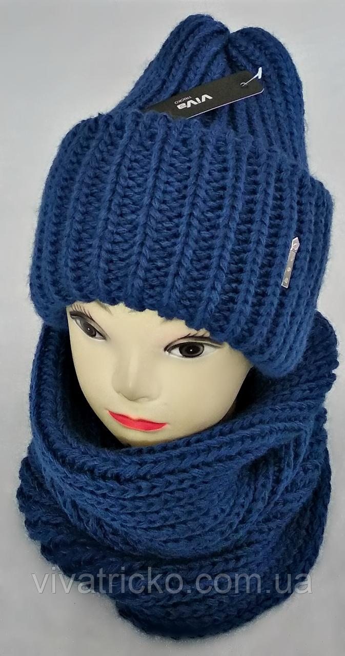 М 5078 Комплект женский шапка и шарф хомут  , разные цвета