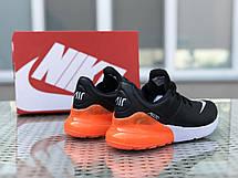 Мужские кроссовки Nike Air Max 270,черные с оранжевым, фото 2