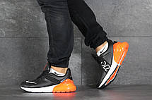 Мужские кроссовки Nike Air Max 270,черные с оранжевым, фото 3