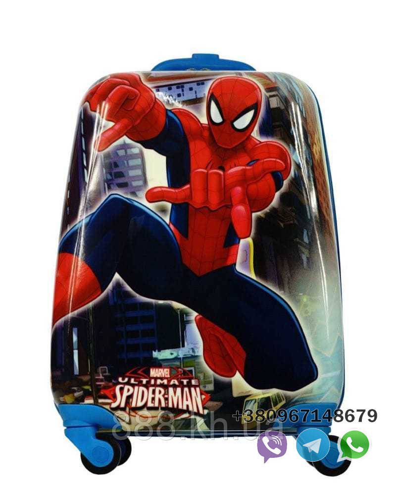 "Детский пластиковый чемодан на колесах  ""Человек-паук"" ручная кладь, дитячі чемодани, дитячі валізи, фото 1"