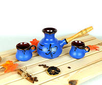 Турка Иероглиф синяя керамическая с деревянной ручкой и чашками 350 мл