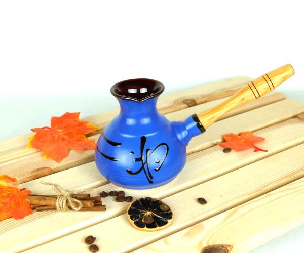 Турка Иероглиф синяя керамическая с деревянной ручкой 350 мл