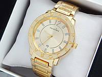 Женские кварцевые наручные часы  Пандора (Pandora) золото, золотой циферблат - код 1549, фото 1