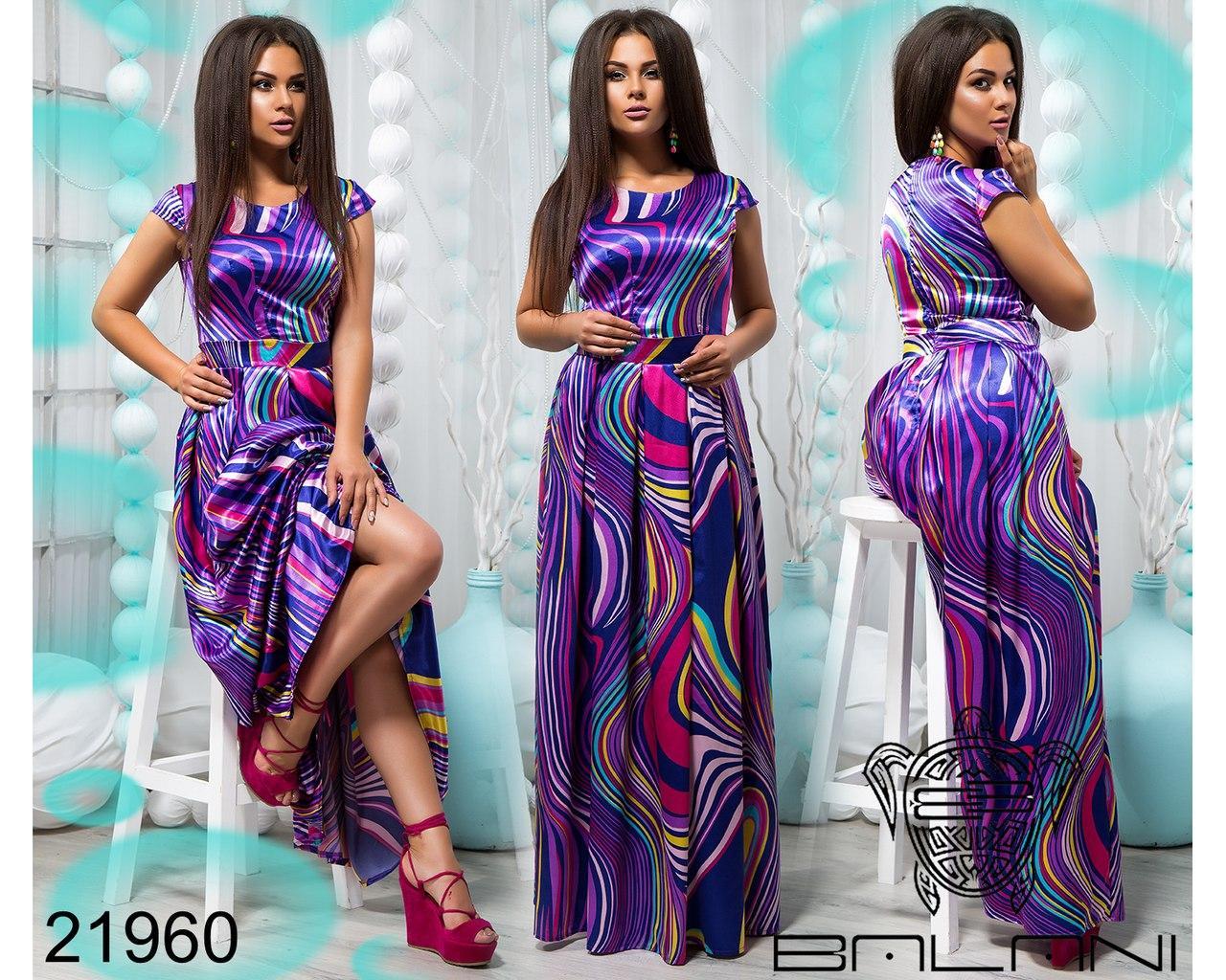 Платье в пол больших размеров  с ярким принтом арт 720/1-610