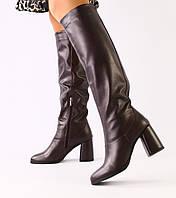 36,37,39 зимние сапоги женские кожаные на высоком толстом каблуке бордовые зима G56TR32-1V