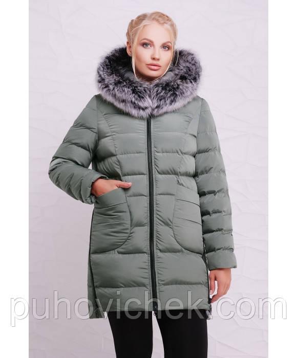 Зимняя женская куртка пуховик модная размеры 46-54