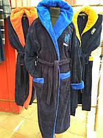 Длинный махровый мужской халат с капюшоном   48-54