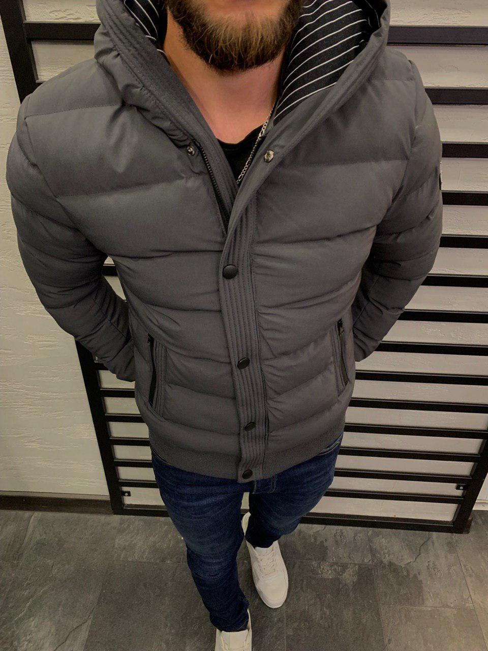 Мужская куртка серая 3026