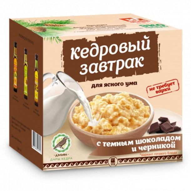 Завтрак кедровый для ясного ума с темным шоколадом и черникой Арго (атеросклероз, ишемия, память, мышление), фото 1