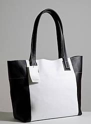 Женская кожаная сумочка 03 черно-белый флотар 01030101-02