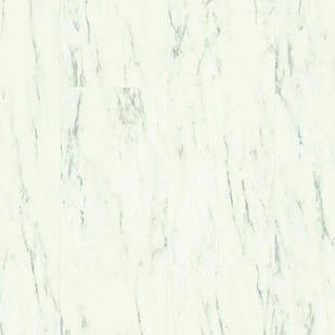 Вініловий підлогу Quick Step LIVYN AMBIENT Click Plus 33 клас Білий каррарський мармур AMCP40136