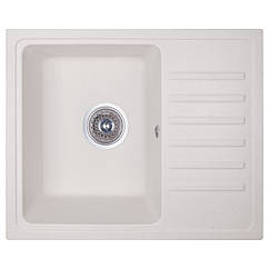 🇱🇻 Кухонная гранитная мойка Fosto прямоугольная (550x460 мм), одночашевая, цвет метель (FOS5546SGA203)