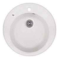 Кухонная гранитная мойка GF Italy круглая (ø510 мм), одночашевая, цвет белый (GFWHI01D510200)