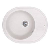 Кухонная гранитная мойка GF Italy овальная (620x500 мм), одночашевая, цвет белый (GFWHI01615500200)