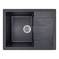 Кухонная гранитная мойка GF Italy прямоугольная (650x500 мм), одночашевая, цвет черный (GFBLA03650500200)