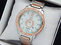 Женские кварцевые наручные часы  Пандора (Pandora) комбинированные, серебро-розовое золото - код 1553, фото 1