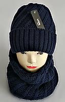 М 5091 Комплект женский шапка и баф , разные цвета, фото 1