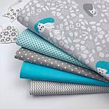 """Лоскут ткани """"Бирюзово-мятные ёжики на цветочной поляне"""" на сером №1832, размер 30*80 см, фото 2"""