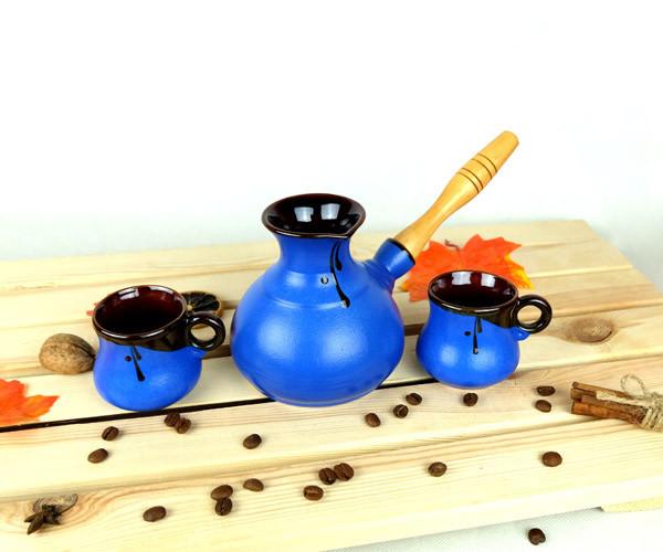 Турка Синяя керамическая с деревянной ручкой и чашками 350 мл
