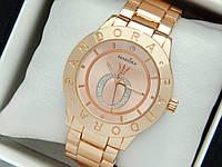 Жіночі кварцові наручні годинники Пандора (Pandora) рожеве золото, з золотим циферблатом - код 1558, фото 1