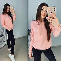 Женский спортивный костюм Кот на флисе (42 44 46 48) (цвет розовый) СП