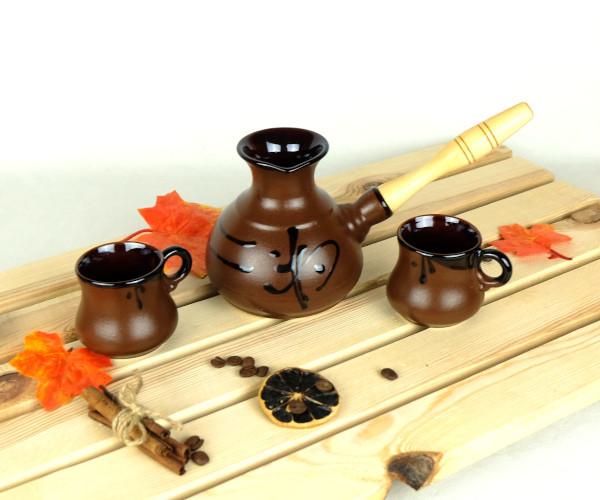 Турка Иероглиф мокко керамическая с деревянной ручкой и чашками 350 мл