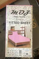 Простынь на резинке розовая трикотаж MOZ Турция 100х200+25 см