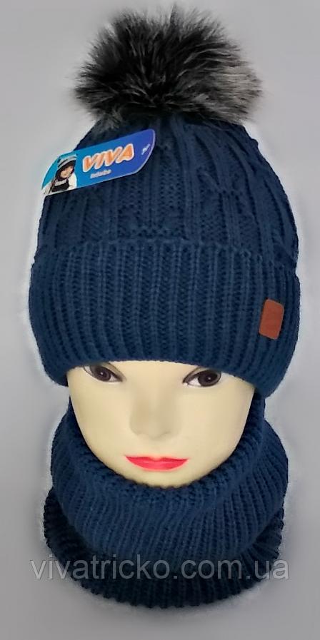 М 5100 Комплект шапка з бубоном і баф зимовий , різні кольори