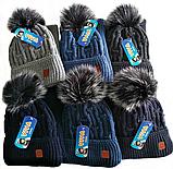 М 5100 Комплект шапка з бубоном і баф зимовий , різні кольори, фото 3