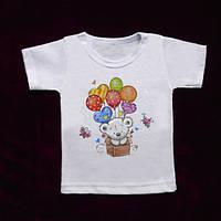 Ясельная футболка на кнопке с рисунком (кулир) 62/74